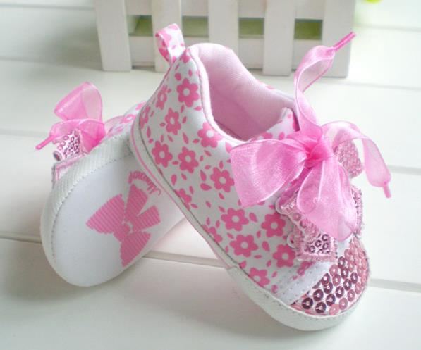 Summer Style pink lace bow infantil baby girl shoes sequins first walker baby shoes(China (Mainland))