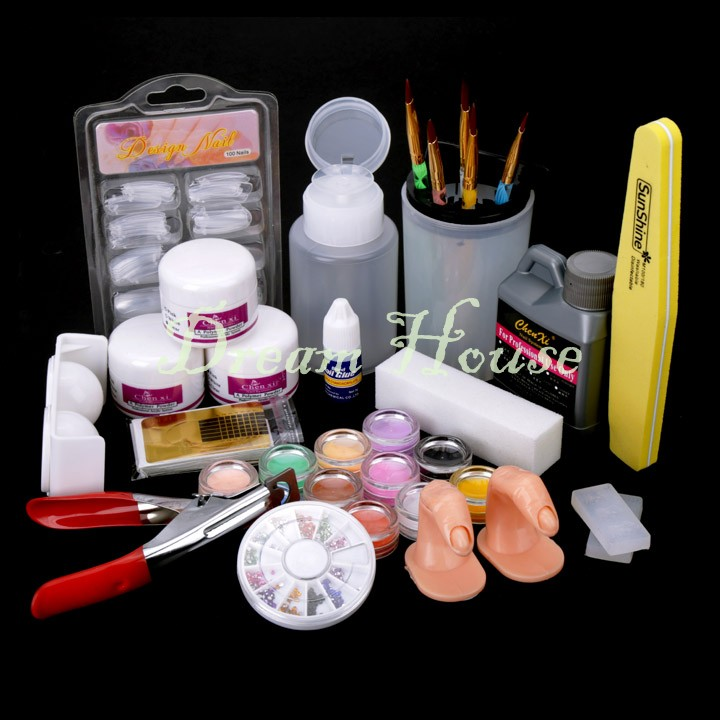 2015 New Acrylic Powder Full Acrylic Glitter Powder Glue French Nail Art UV Gel Tip Kit Set US51(China (Mainland))