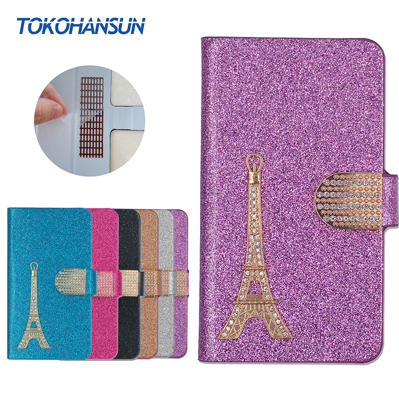 For Sencor Element P500 Case Luxury Bling Flip Wallet Effiel Tower Diamond 2017 New Hot PULeather cover TOKOHANSUN Brand(China (Mainland))