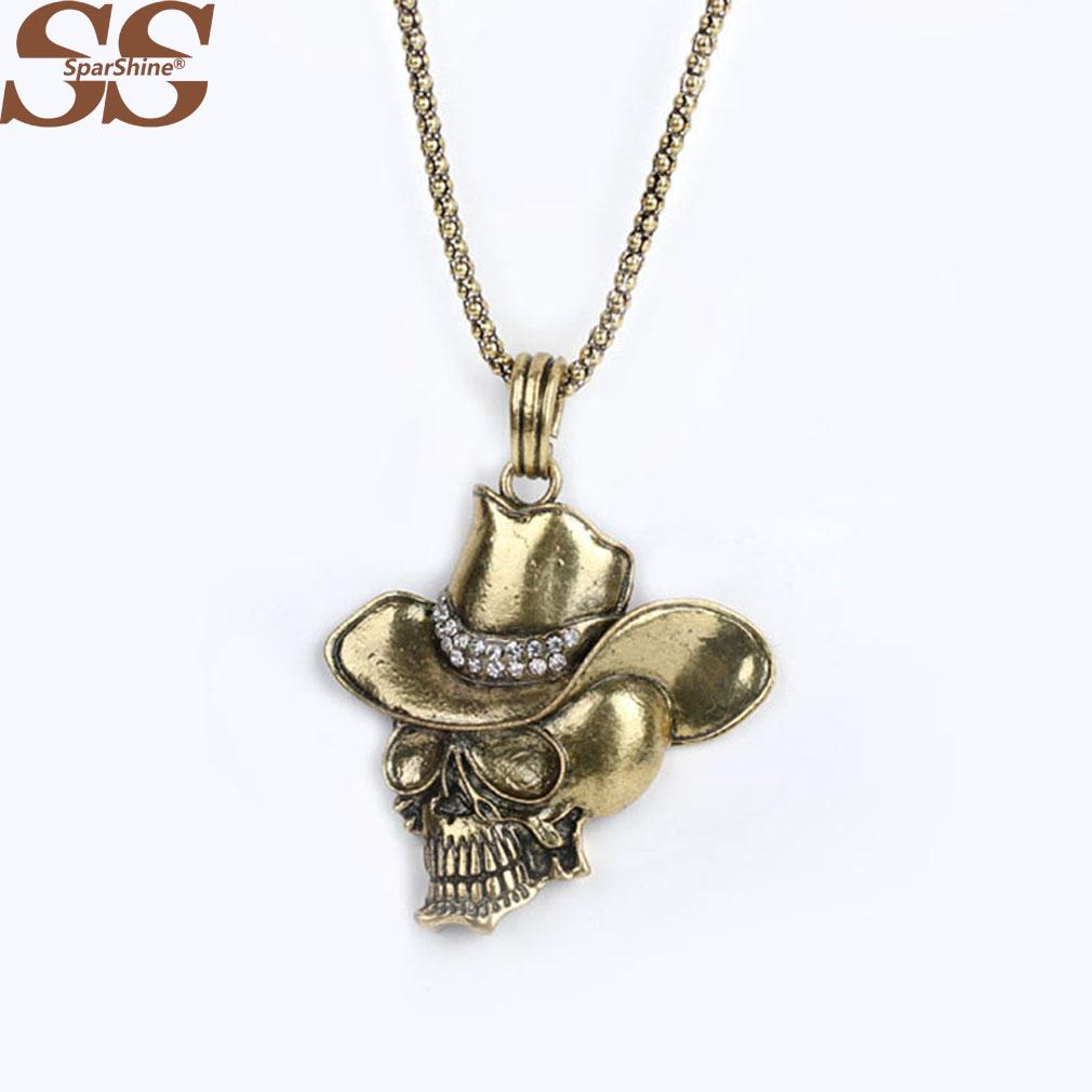 SparShine Collares Necklaces & Pendants Fine Jewelry Unisex Skull Necklace Pendant Colar Vintage Jewelry Retro(China (Mainland))