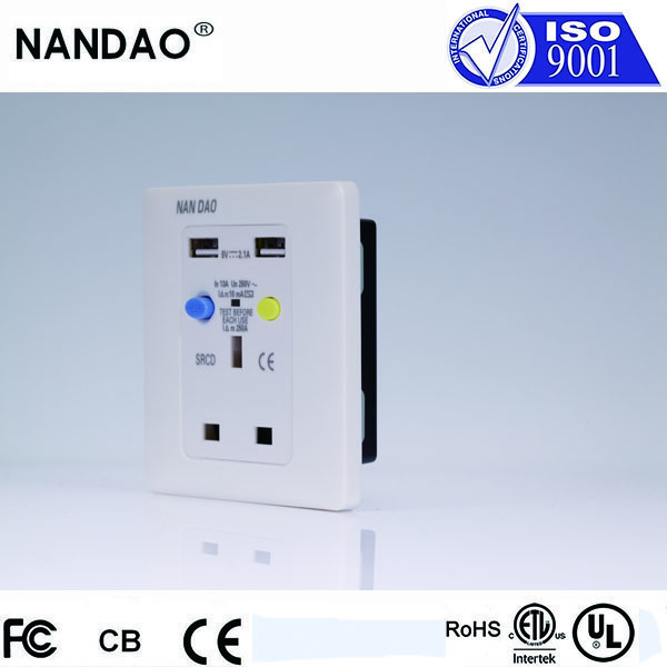 2016 UK Standard Wall SRCD Socket Residual Current Protection Circuit Breaker 13A 250V With Two USB Port And Freebee Cartridge(China (Mainland))