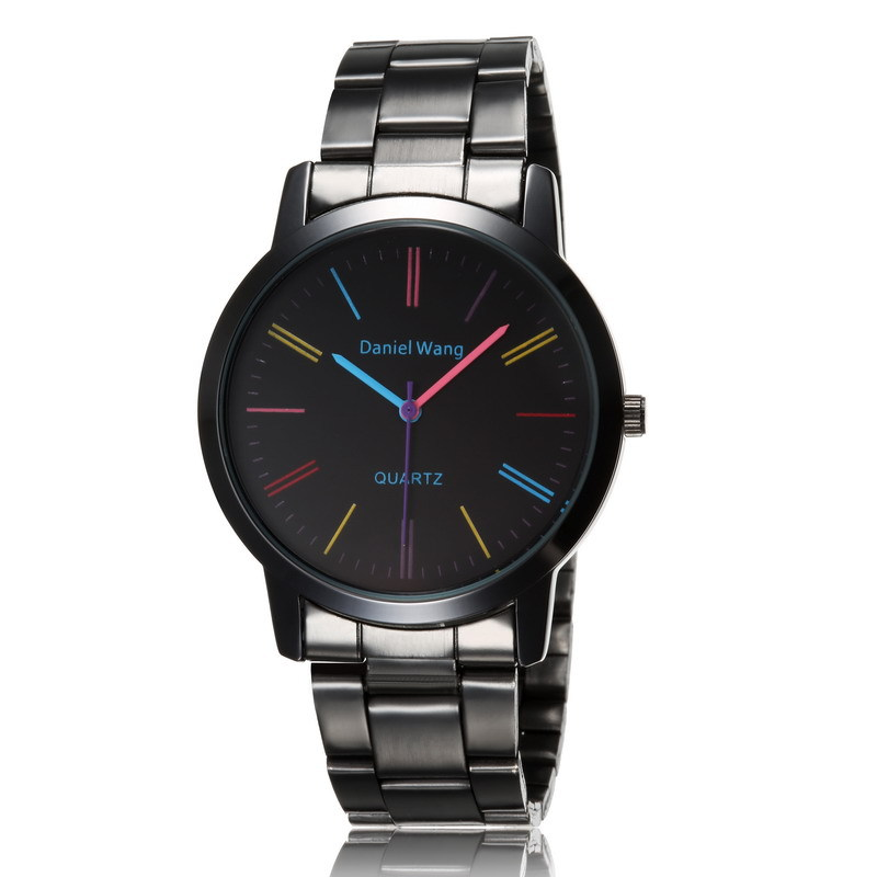 Black designer man watch Full steel woman fashion dress watch luxury brand name Geneva quartz watch best quality watches female(China (Mainland))