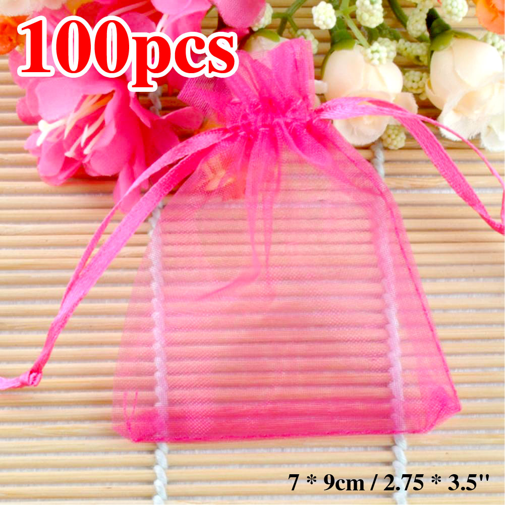 """100pcs/lot Organza Gift Bags 7 x 9cm / 2.75 x 3.5"""" Rosy Sheer Organza Pouch Wedding Jewelry Beads Favors Gift Bags ES1892(China (Mainland))"""
