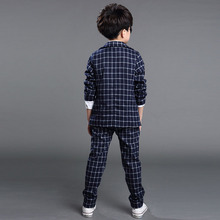 2015 New Boys Formal Suits for Weddings Brand England Style 6 14T Man Child Plaid Formal
