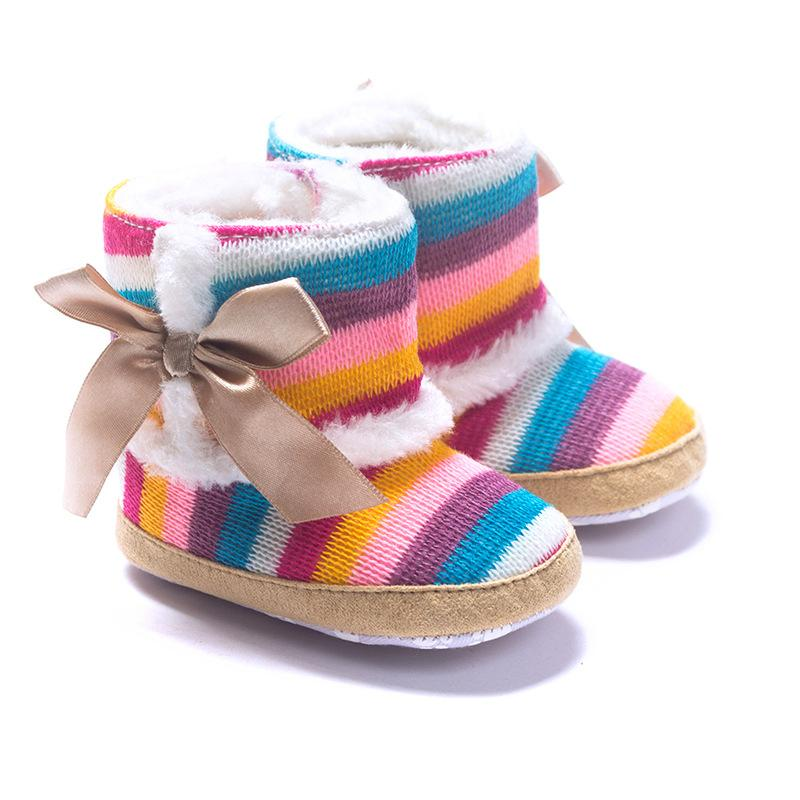 New Arrival Winter Thick Baby Snow Boots Rainbow Stripes Warm Baby Toddler Footwear Shoes Children's Boots(China (Mainland))