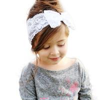 Heißer verkauf handarbeit spitzen bogen stirnband für babys mode spitze haarband mit schleife im haar kinder Boutique haar-accessoires