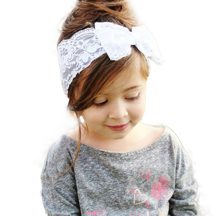 Hot Sale Handmade Lace Bow Headband For Baby Girls Fashion Lace Hairband With Hair Bow Kids Boutique Hair Accessories 5pcs/lot()