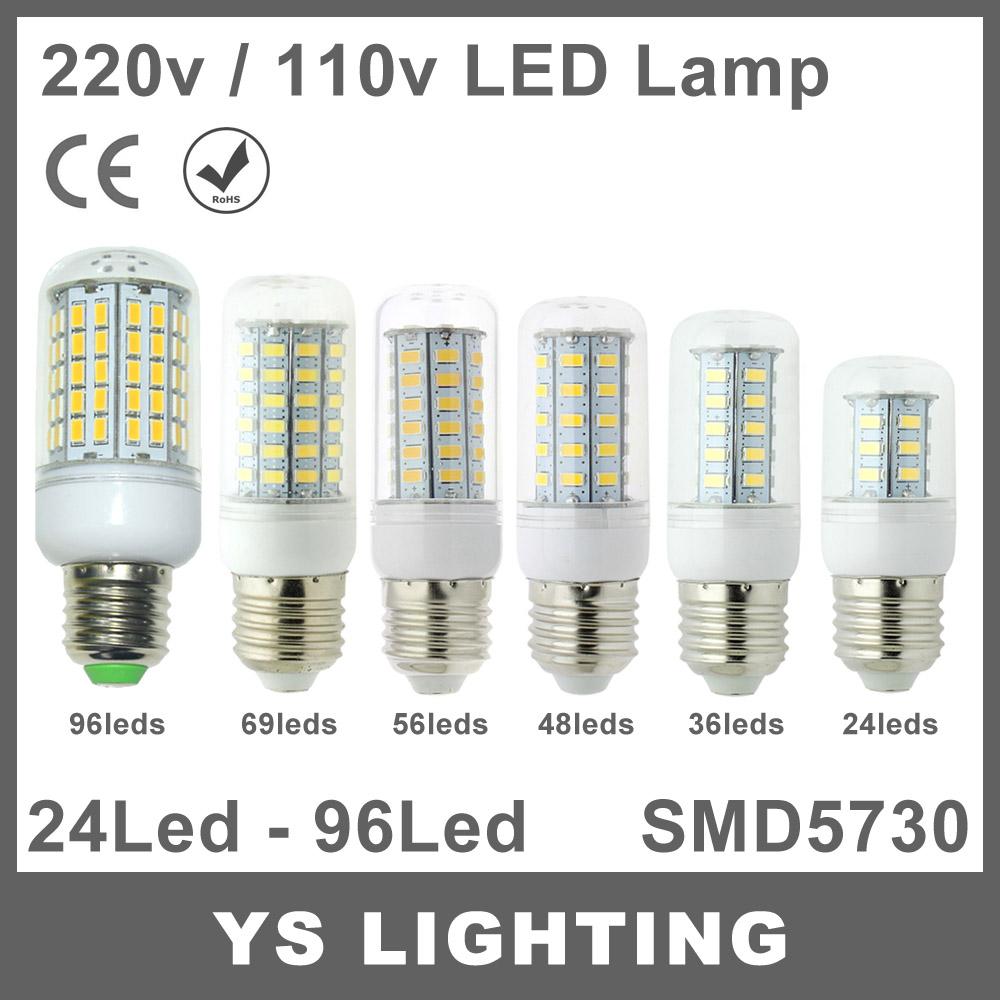 E27 Led Lamp 220V 110V 24 36 48 56 69 96 leds SMD 5730 LED Light Corn Led Bulb Christmas lampada led Chandelier Candle Lighting(China (Mainland))