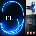 Retail Box LED Earphone EL Luminous LED Eaphones EL Glow In the Dark Sport Stereo In