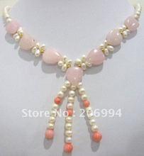 fashion jewelry Beautiful jade Freshwater pearl Necklace fashion Jewelry free shipping #031(China (Mainland))