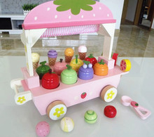 Free Shipping!Baby Wooden Toys Strawberry Ice Cream Shop With Play Food Pretend Play kitchen toys  gift(China (Mainland))