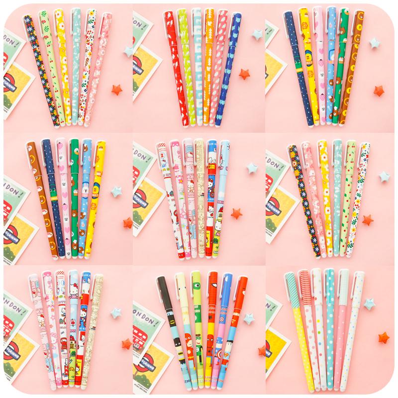 6pcs/set Korea Stationery Creative Cute Pen Color Gel Pen Color Pen Suit <br><br>Aliexpress