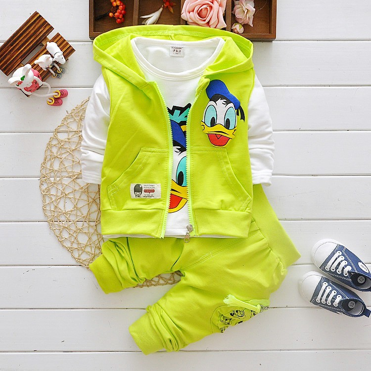 2016 Boys Clothes Suits Cartoon Donald Duck Baby Kids Boys Outerwear Hoodie Jacket Baby Sport Boys Clothing Sets Suits(China (Mainland))