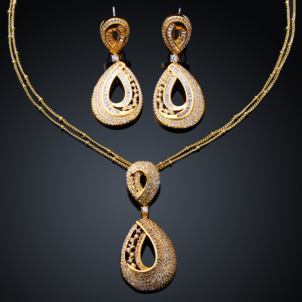 Teardrop pendant necklace earrings sets gold filled jewelry set new fashion