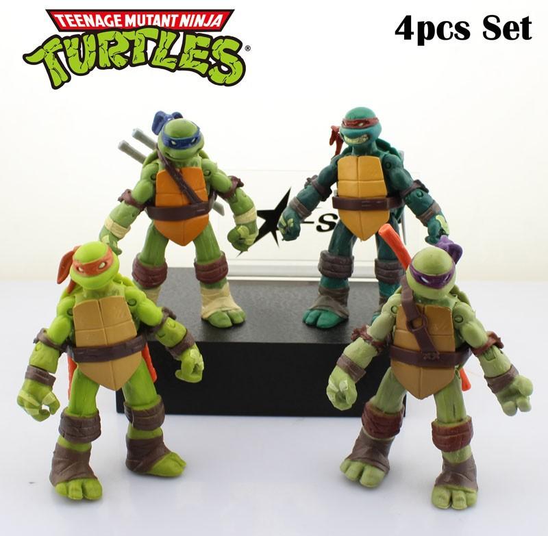 DHL Shipping 12 sets 4.8 TMNT Teenage Mutant Ninja Turtles Classic 12cm PVC Action Figure Collection Model Toys (4pcs set)<br>