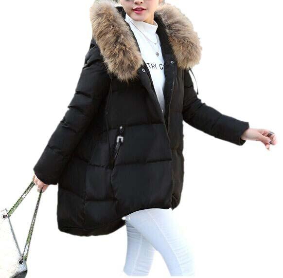 2016 New Winter Jacket Women Large Faux Fur Collar Thickening Hooded Women Down Parkas Women Winter Coat Black Down Jackets(China (Mainland))