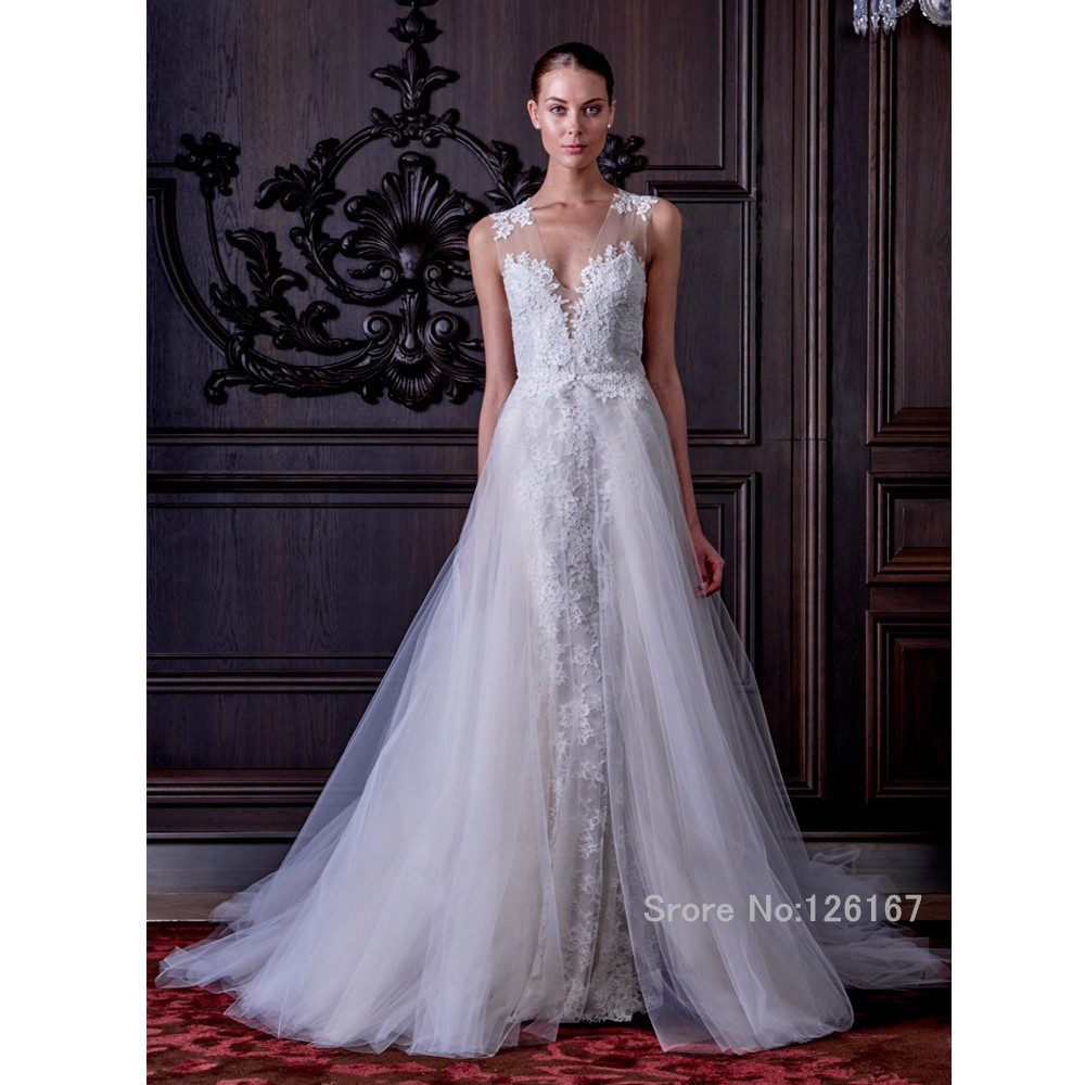 Detachable train wedding dress 2016 lace wedding gowns for Detachable train wedding dress