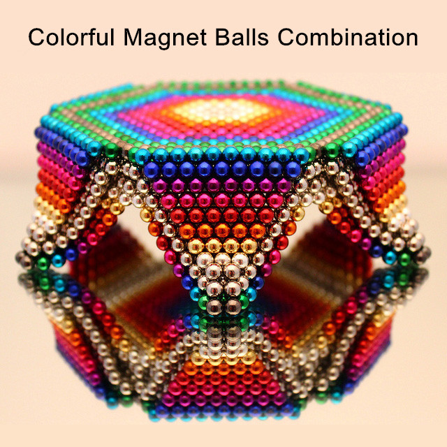 5mm 216pcs Solid Color Magnet Buckyballs 5000 Gauss NdFeB Magnetism Neocube DIY Combination Magnetic Puzzle Cube for Gift Toys(China (Mainland))
