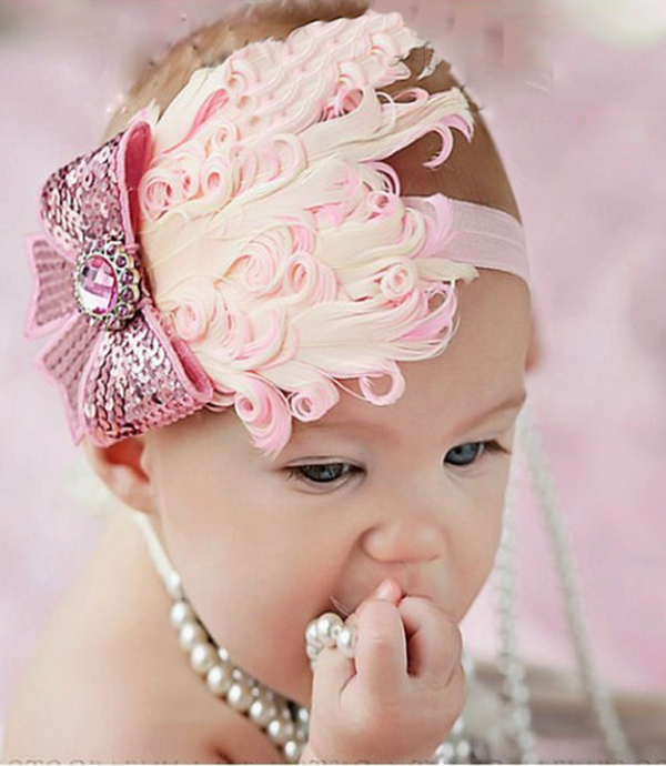 Top Selling Baby Hats /Toddle Head Band fashion design Baby dedicated feather flower modelling of diamond hair band(China (Mainland))