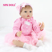 NPKDOLL Baby Reborn Doll 22 Inch Lifelike Soft Silicone Reborn Toys Fashion Gift For Girls Newborn Babies Toys(China (Mainland))