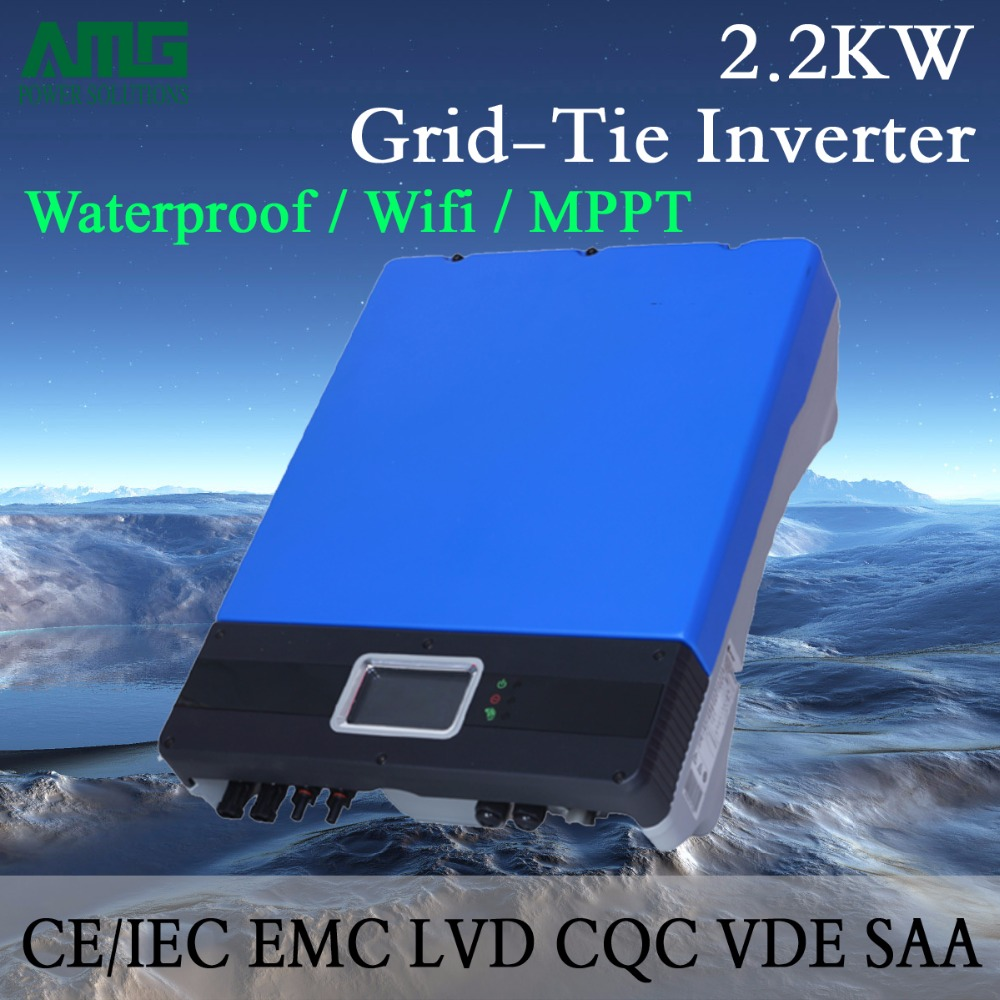 2KW(2200W) Dual Input Single MPPT Waterproof IP65 On Grid Tie Solar Power Inverter Wifi Default Conversion Efficiency 99.95%(China (Mainland))