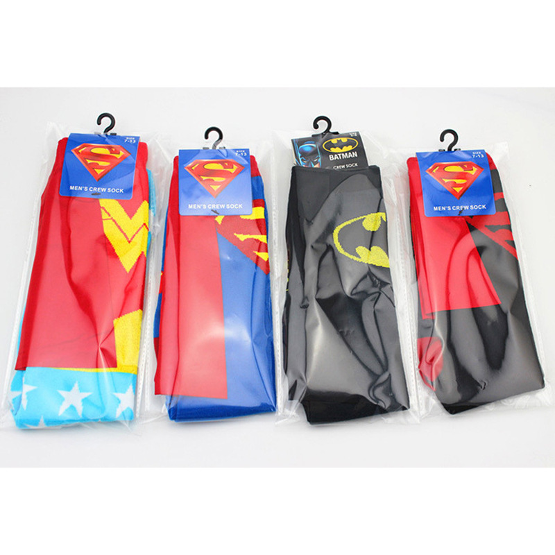 Children Clothing For Youth Cartoon Batman Superman Pattern Teenage Socks Children Big Boys Football Sock 4Pcs