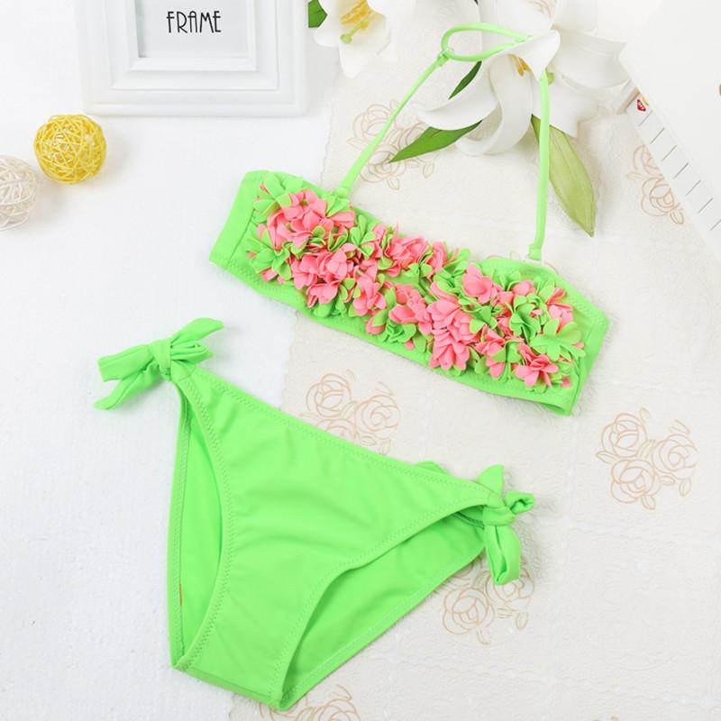 Kid girls swimming suit baby girl brazilian bikini bathing swimsuit 2016 two pieces swimwear cute flower set beach biquini(China (Mainland))