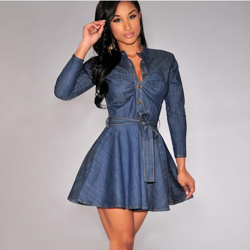 2016Summer Style Women Dress Denim Shirt Long Sleeve Sexy Dress Collar Single-breasted Lace-up Slim Big Yards Women Clothes Q119(China (Mainland))