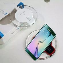 For Samsung Galaxy S6 / S6 Edge Qi Wireless Charger Compact Round Crystal Charging Pad with LED Light-T01