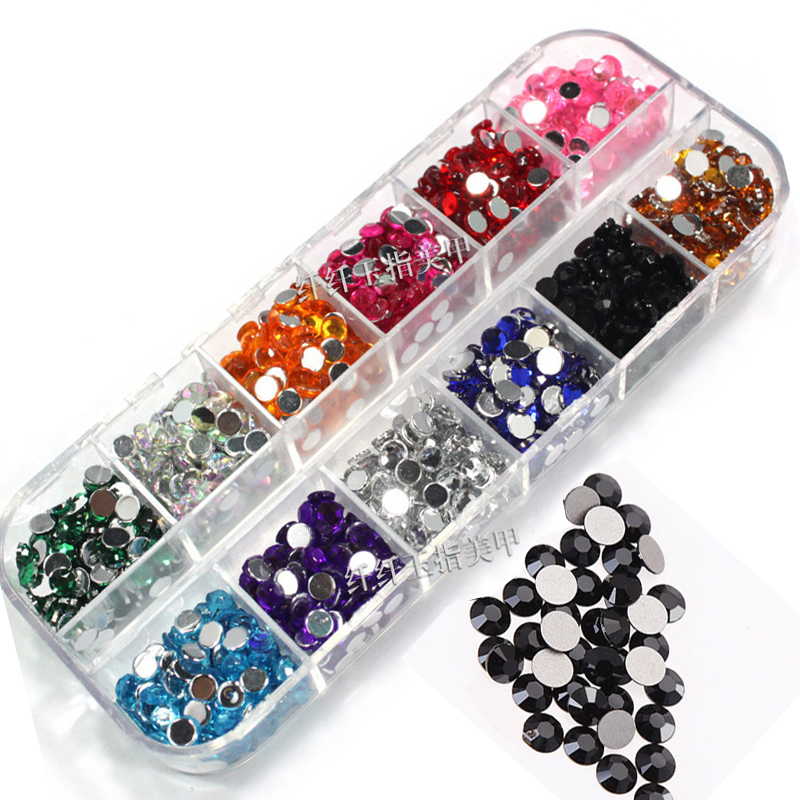 Long Empty Box Diamond Drill Phone Round Flat Nail Art Decorations Glitter 3D Nail Art Colorful Crystal Rhinestones For Nails(China (Mainland))