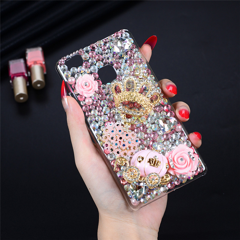 P9Lite Rhinestone Case Luxury 3D Handmade Glitter Diamond Bling Crystal Clear Hard PC Protective Back Cover Huawei P9 Lite