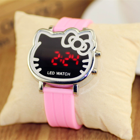 9 colors girls cute hello kitty cartoon watch , women kids children silicone strap led relogio digital watches - Bees family Co,. Ltd store