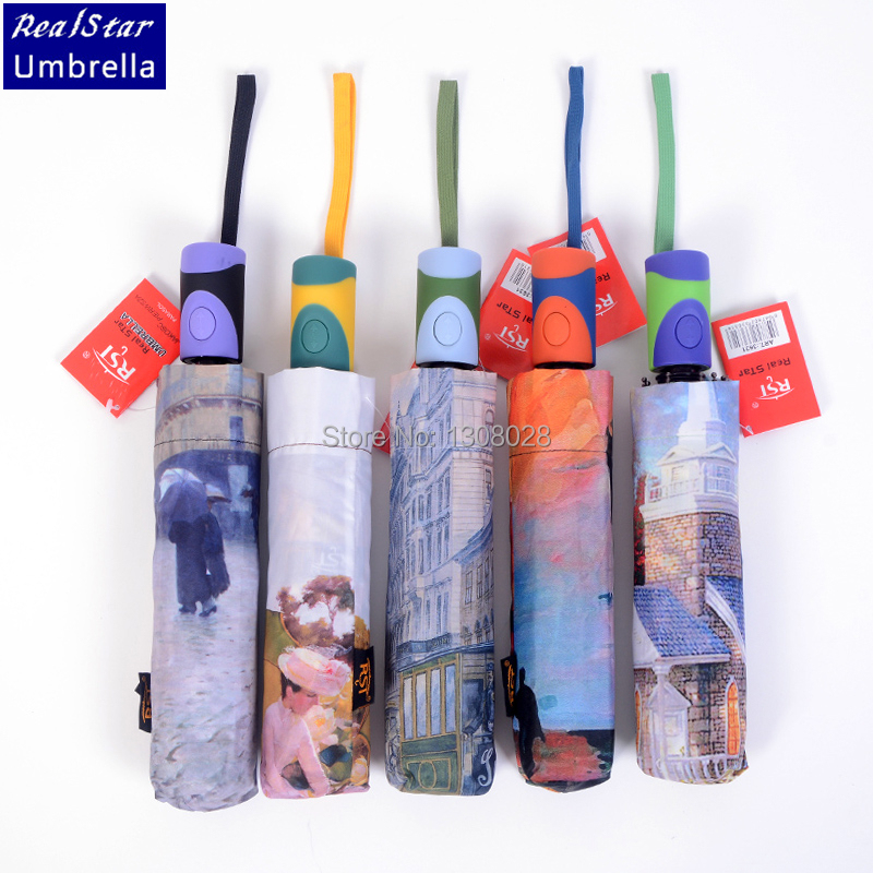 High Quality CHinese Brand Oil Painting Style Automatic Three Folding Women Men Sunshade And Windproof Clear