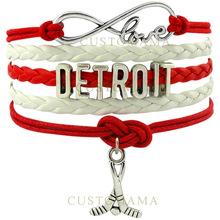 CUSTOMAMA Infinity Love Detroit Hockey Bracelet Red Wings Hockey Fans Red White Wax & Leather Bracelet Custom Dropship(China (Mainland))