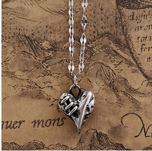 2015 Valentine's Day hotselling fashion Gothic jewelry,Scar injured Heart Pendant Titanium steel necklace,Men Jewelry,2241