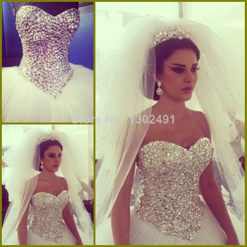 2014 new sweetheart beaded ball gown white ivory tulle for Diamond sweetheart wedding dress