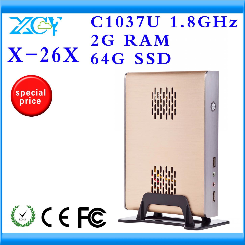 XCY X-26X mini htpc,mini itx,desktop pc,small without fan matel pc case C1037U processor cloud computing pc station(China (Mainland))
