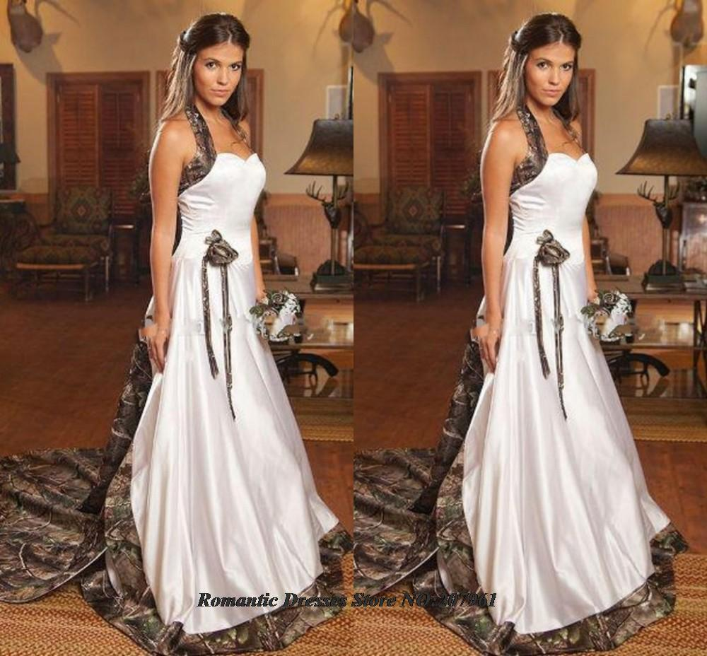 Buy 2015 elegant halter a line camo for Where to buy camo wedding dresses