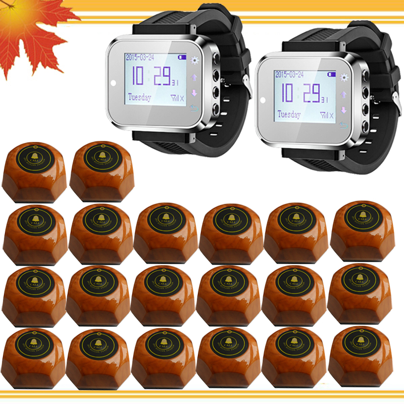 2 pcs watch receivers+20call buttons,waiter call system restaurant pagers server paging systems(China (Mainland))