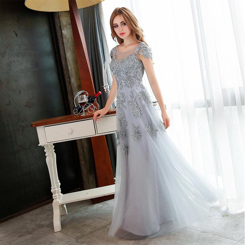 Cheap Wholesale New Fashion Long Evening Dresses 2016 Grey Lace ...