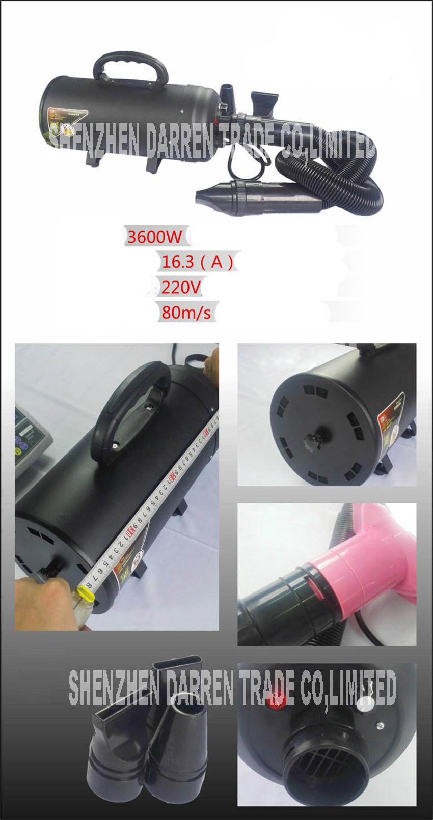 3pcs  Hair Dryer  High Power Motor Double Engine Hair Dryer Pet Grooming Dog 220 v   3600 w