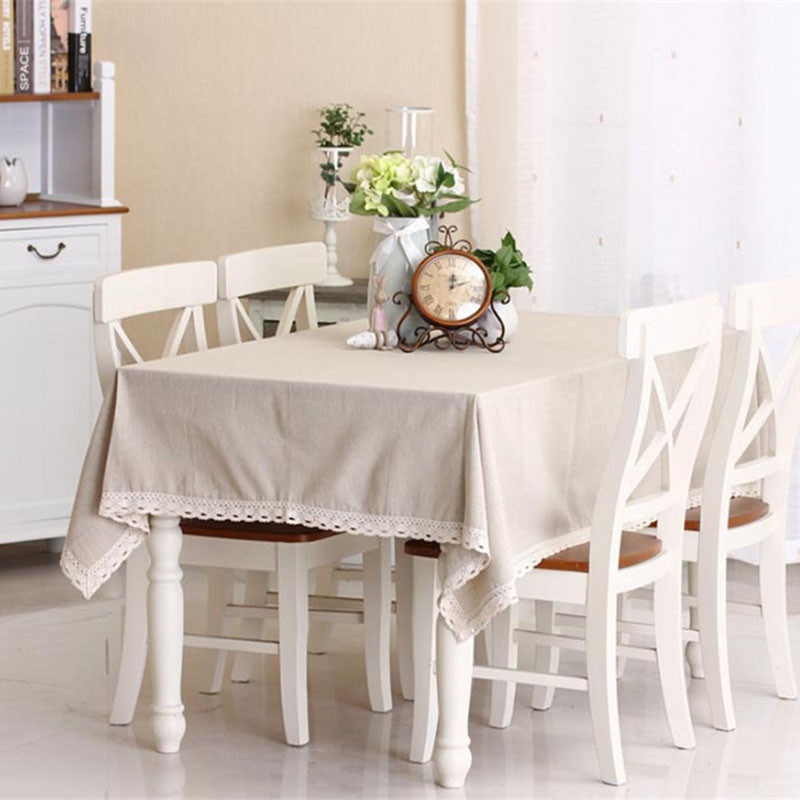 Nature Solid Linen Lace TableCloth Cover Fashionable European Table Cloth for Rectangular Table Palcemats on The Table Sets(China (Mainland))