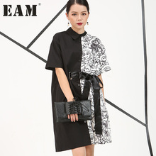 Buy 2017 Europe Summer new Irregular printed Personality white black short-sleeved long shirt women fashion 4CH1571 for $17.00 in AliExpress store