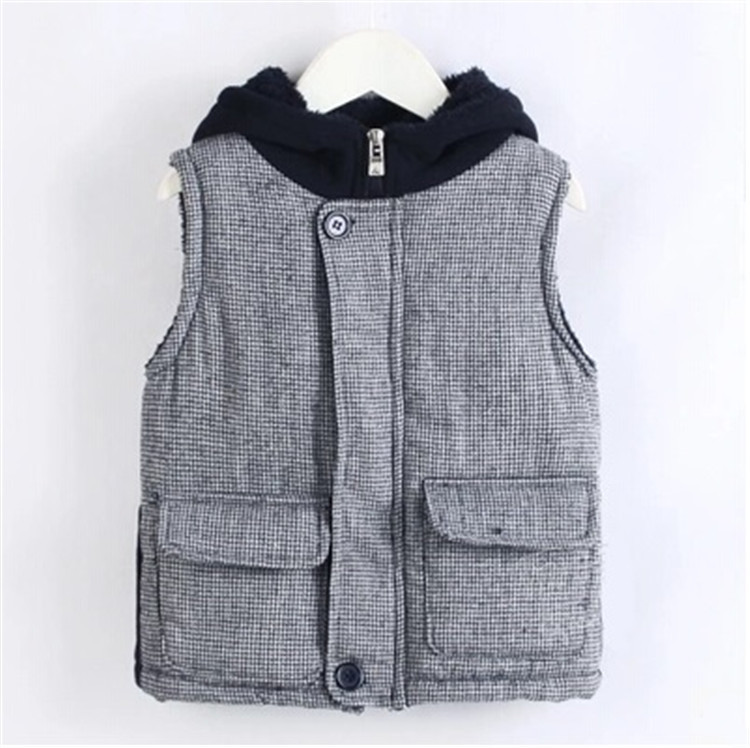 2015 winter black and gray color block decoration boys clothing baby child with a hood vest cotton vest A0594(China (Mainland))