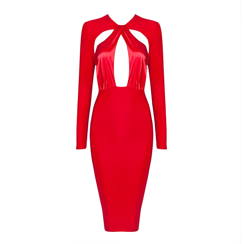 2015-new-fashion-elegant-and-sexy-women-red-black-keyhole-cutout-long-sleeve-evening-party-bandage