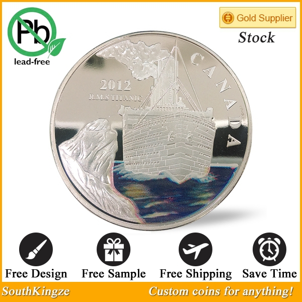 5pcs/lot Elizabeth II Titanic blue water Silver Plated Canada Souvenir Coins Free shipping.(China (Mainland))