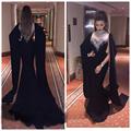 Elegant High Neck Rhinestones Evening Dresses Mermaid Black Arabic Capped Muslim Dubai Prom Party Gowns Beaded