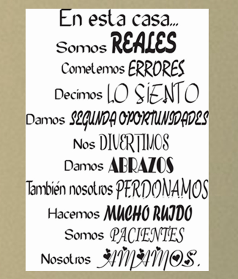 product free shipping Spanish House Rules Vinyl Wall Decals-En Esta Casa Wall Decal-Home Art Wall Decal Quote Decor-Family Wall Stickers