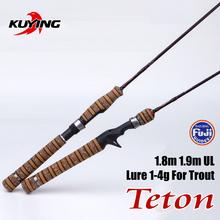 KUYING Teton UL Ultra-light Soft Fishing Rod 1.8m 1.9m Lure Carbon Casting Spinning Pole FUJI Trout Medium Action Free Shipping(China (Mainland))