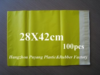 Wholesale 100pcs 28X42cm YELLOW poly mailers/colourful poly bags/ poly envelopes/mailing bags/express envelopes free shipping!
